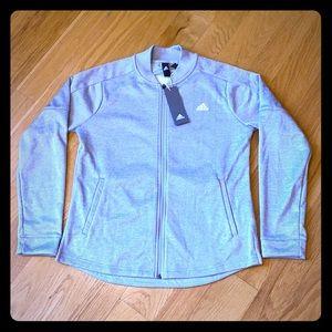 NWT Adidas Bomber Jacket, M. Light Gray, Zipper